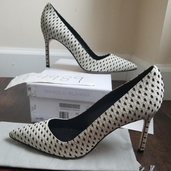 1d329c76fc0d Manolo Blahnik Shoes | Nwt Bb 90 Spotted Dot Heels 385 40 | Poshmark